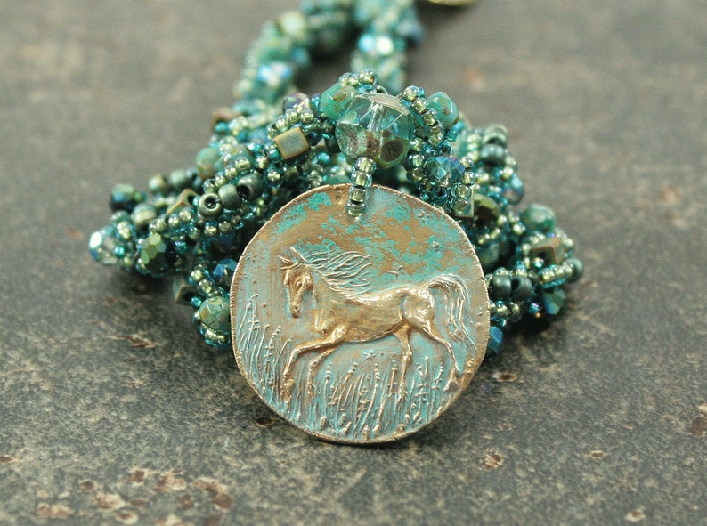 One of a Kind Horse Necklace Hand Beaded Teal Turquoise Horse image 0