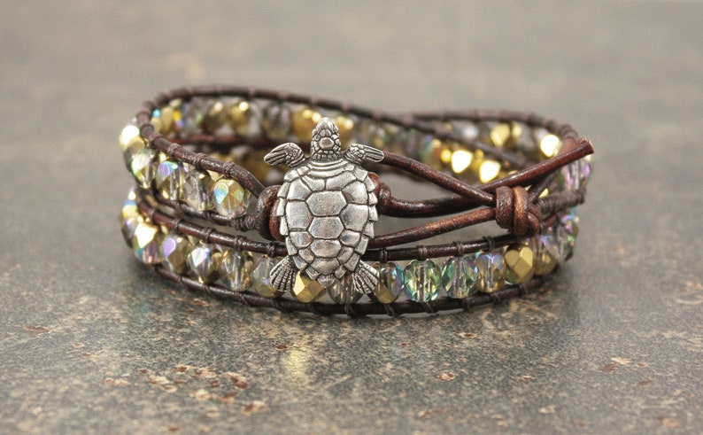 Gold Turtle Bracelet Sparkling Turtle Jewelry Double Leather image 0