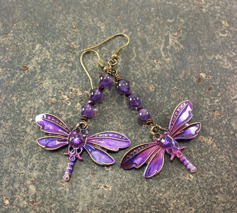 Bold Dragonfly Earrings Purple Dragonfly Jewelry image 0