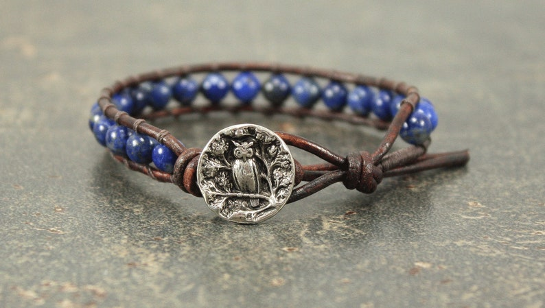 Lapis Owl Jewelry Silver Blue Owl Bracelet image 0