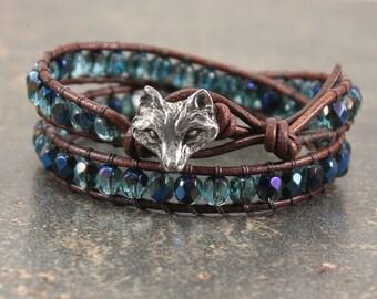 Bold Fox Jewelry Silver Turquoise Blue Fox Bracelet