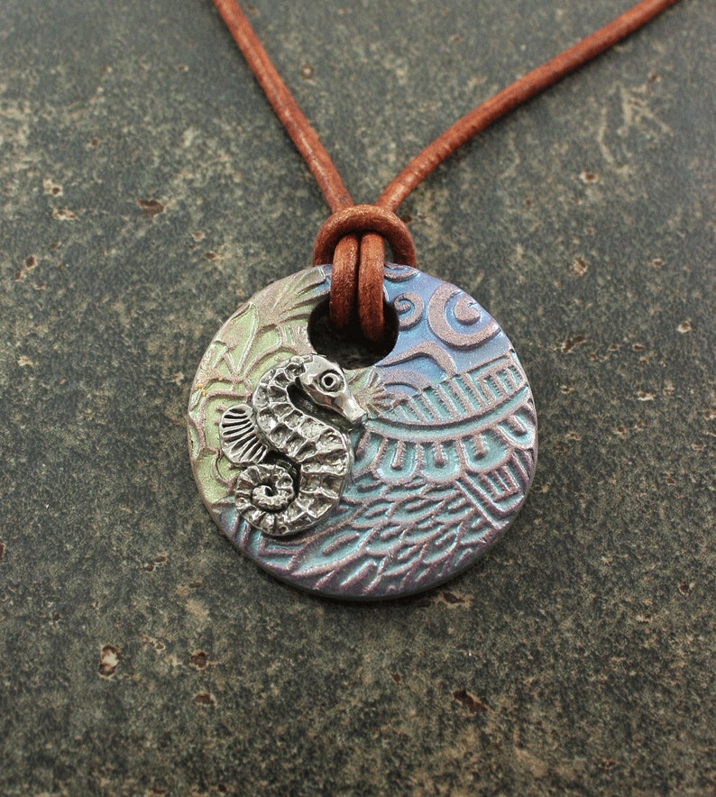 Leather Seahorse Necklace Silver Lime Green Seafoam Blue image 0