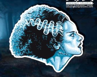Bride of Frankenstein Sticker / Classic Monster Die Cut Sticker / FREE SHIPPING!