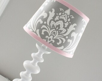 White Ruffles with Pink Trim Clip-On Chandelier or Sconce Silk Shade 2711