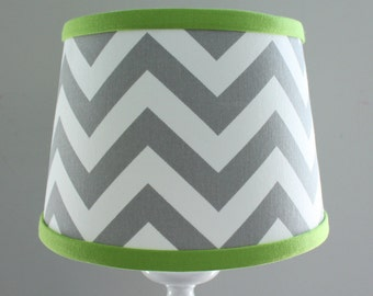 Small gray white chevron lamp shade with accent aqua blue etsy small white gray chevron lamp shade with accent lime green aloadofball Gallery