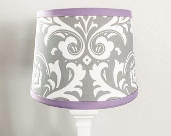 Lavender & Gray Damask Lamp Shade