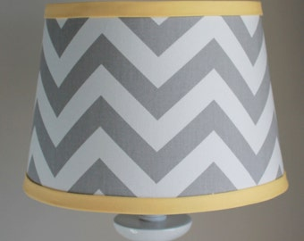 Small White Gray Chevron lamp shade with accent yellow.