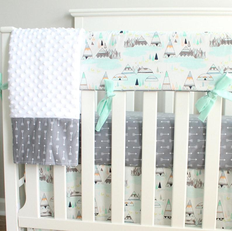Boy Crib Bedding Set Woodland Mint Gray Teepee Indian summer Rail Cover Nursery Set