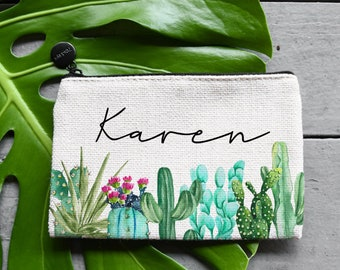 succulent design plant print Cactus hand printed pouch canvas zipper case make-up bag handmade block print minimalist pattern unique gift