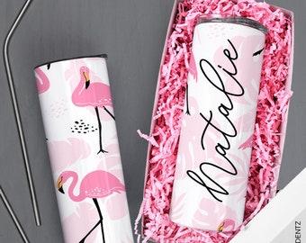 Flamingo Tumblers, Pastel Custom Skinny Tumbler, Bridesmaid Tumbler, Birthday Tumbler, Personalized Tumbler,Bridesmaid Gift,Custom Drinkware