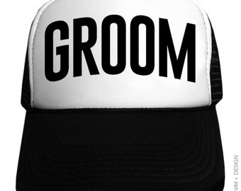 ffea7218dd930 Groom Trucker Hat - bachelor party hats- Basic Style - Black and White Hat  - Snapback Trucker Hat - hats and caps