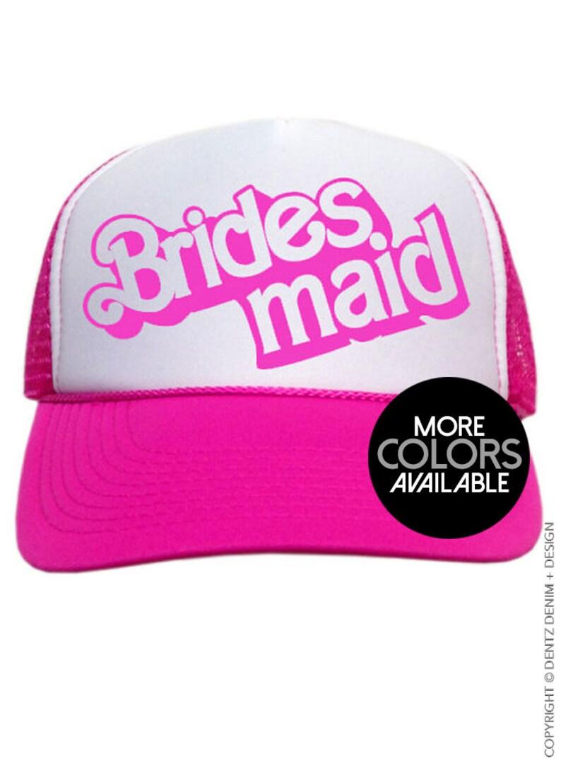 Adjustable Back Bridesmaid Hat One Size Trucker Hat Wedding Hats Bridal Party Hat Snapback Trucker Cap Doll Style Bridesmaid