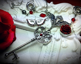 Phantom of the Opera Pendant Necklace, Blood Red Rose Mask Skeleton Key Silver Charm Gothic Victorian Steampunk, Titanic Temptations 16007