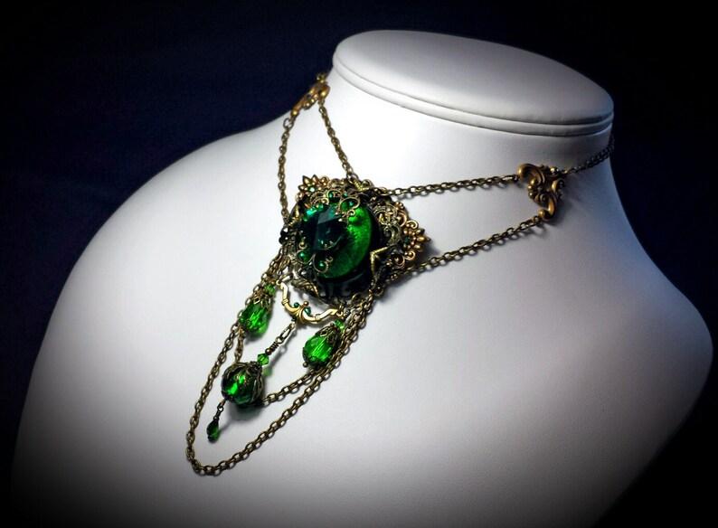 1411a2f70e8e4 Emerald Green Bronze Drop Choker, Gothic Victorian, Forest Crystal  Medallion Steampunk Edwardian Bridal Necklace, Titanic Temptations 16008