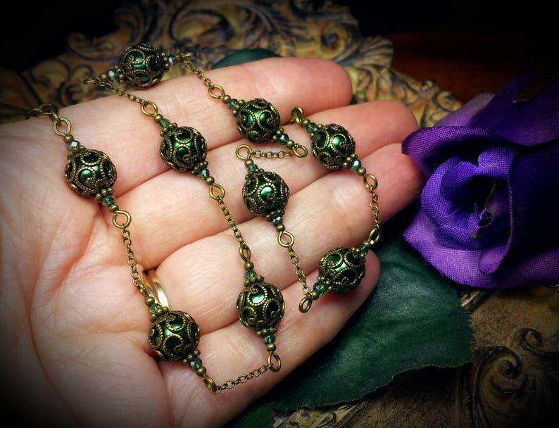 Dark Green Pearl Choker Edwardian Bridal Forest Green Pearl Necklace Victorian Steampunk Antique Bronze Filigree Titanic Temptations 14008