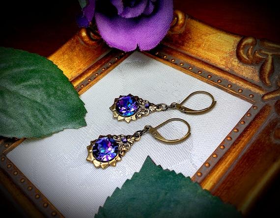 Delicate earrings purple and bronze
