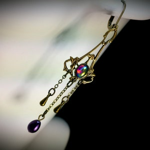 Necklace Earrings Set Fairy Butterfly Purple Glass Crystal Brass #447 #EtsyGifts One Of A Kind