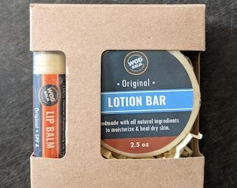 Lotion Bar Gift Box with Your Choice of Lip Balm or Tear Repair | Stocking Stuffer | Secret Santa | Skincare Gift | Self Care | Moisturizing