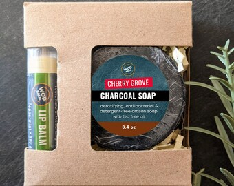 Charcoal and Tea Tree Oil Detergent-Free Soap Gift Box | Comes with Choice of Lip Balms | Housewarming | Stocking Stuffer | Handmade