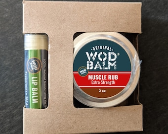 Sore Muscle Recovery Box | 2oz WOD Balm Muscle Rub w/Choice of Tear Repair or Lip Balm (orig/mint) | Gift for Coach | CrossFit Selfcare Gift