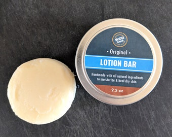 Lotion Bar - 100% All Natural | Handmade | No Spill! | Soften + Heal Cracked, Dry Skin | Skin Care Self Care | Shea, Cocoa & Mango Butters