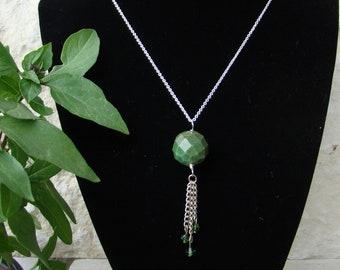 Chrysocolla Stone Tassel Necklace
