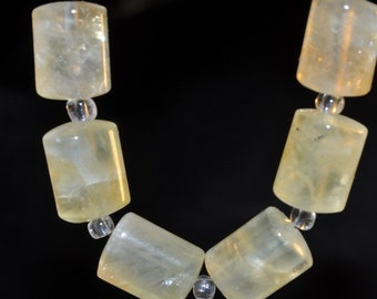 """6 Pieces 11x14mm """"Aura of Beauty/AAA Quality""""~Natural Yellowish GREEN PREHNITE Smooth Triangular Tube Beads - I1173"""