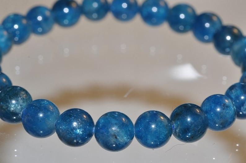 I1213 7.5 Precious GemsTop Grade~Genuine Un-Treated Rich ELECTRIC BLUE APATITE Unisex Stretch Bracelet 24 Beads 8mm