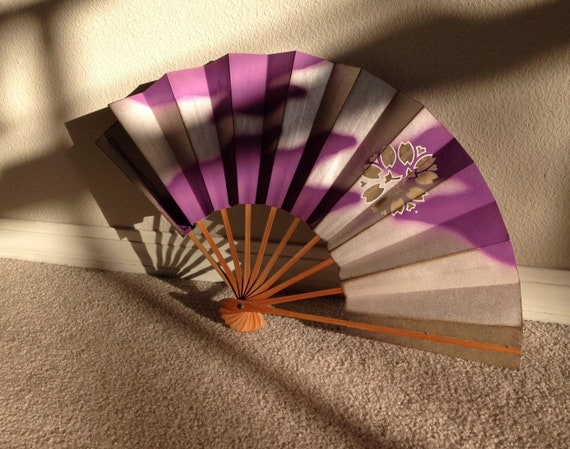Antique Japanese Fan - purple