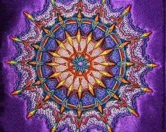 Mandala / Focal Point Embroidered Tapestry (embroidered wall art)