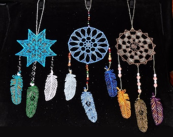 Dream Catcher (embroidered FSL) with 3 FSL Feathers (embroidered freestanding lace wall art)