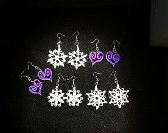 Embroidered 3d Snowflake (or heart, flower, butterfly) Earrings -- great for Valentines, Mother's Day, Birthdays & Stocking Stuffers!