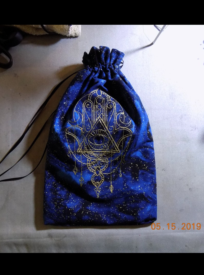 Lined Drawstring Bag with Embroidered Hamsa Talisman image 0