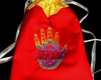 """Large Lined Drawstring Bag with Embroidered Color Shift """"Hand Made"""" Light-Stitched Design"""