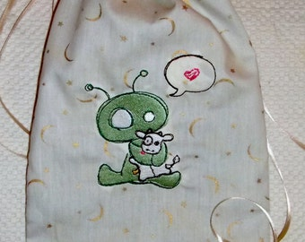 Lined Large Drawstring Bag with Embroidered Alien