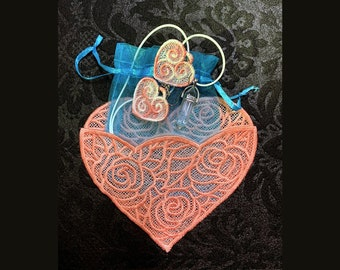 Embroidered Jewelry Gift Set (pendant with lab created stone point, stitched earrings, stitched envelope heart)