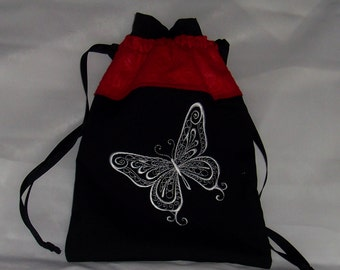 Lined Drawstring Bag with Embroidered Butterfly