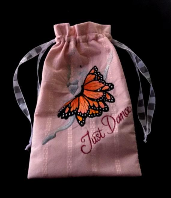 """Sac grand 8,75 """"x 14"""" doublé avec brodé ballerine «Just Dance» dans la conception de papillon Tutu"""