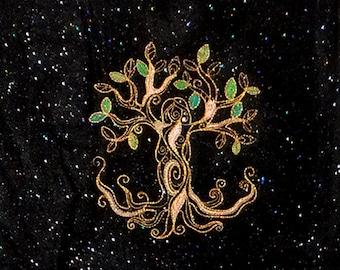 Earth Goddess Tree of Life (embroidered wall art)
