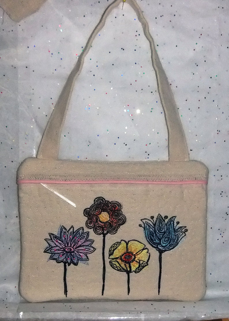 Quilted / Embroidered 7.75x10 Canvas Zipper Purse or image 0