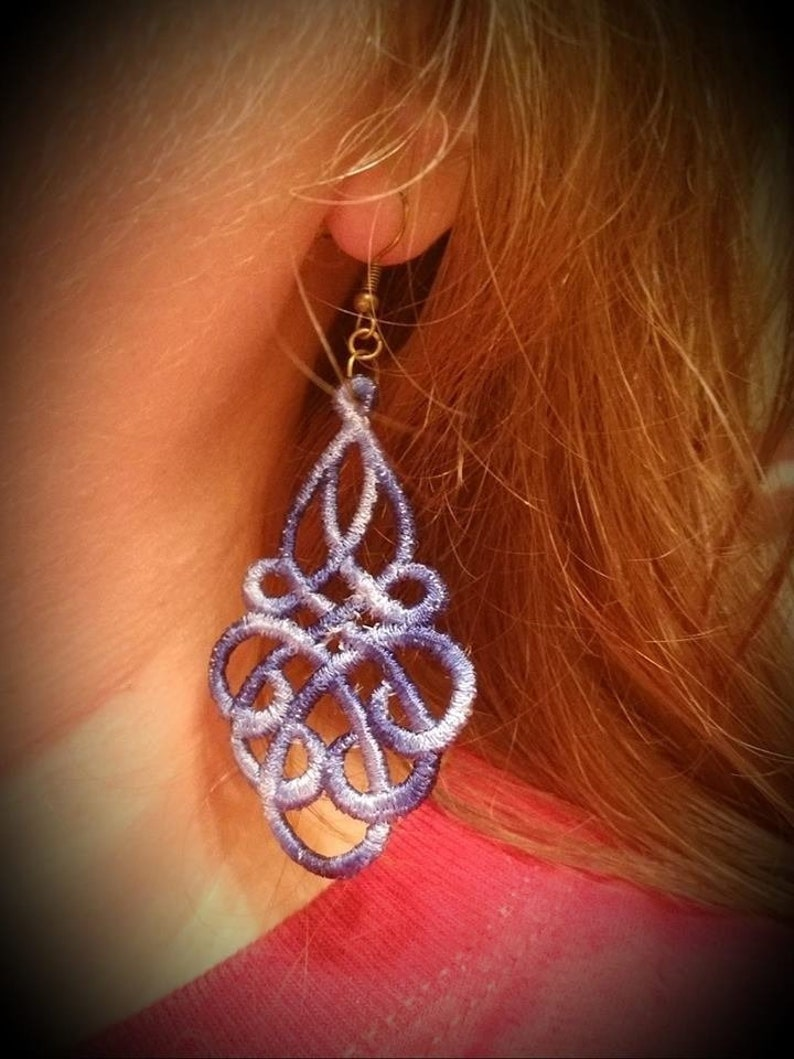 Embroidered Knot Earrings  great Valentine's image 0