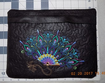 Peacock Fan & Peacock Faux Snakeskin Suede Evening Clutch (8.75″ x 11.5″ – fully lined, padded, quilted, embroidered)