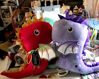 """Big Head Dragon Plush Stuffed Toy (14-16"""" tall custom-made stuffed toy with embroidered wings, face & details)"""