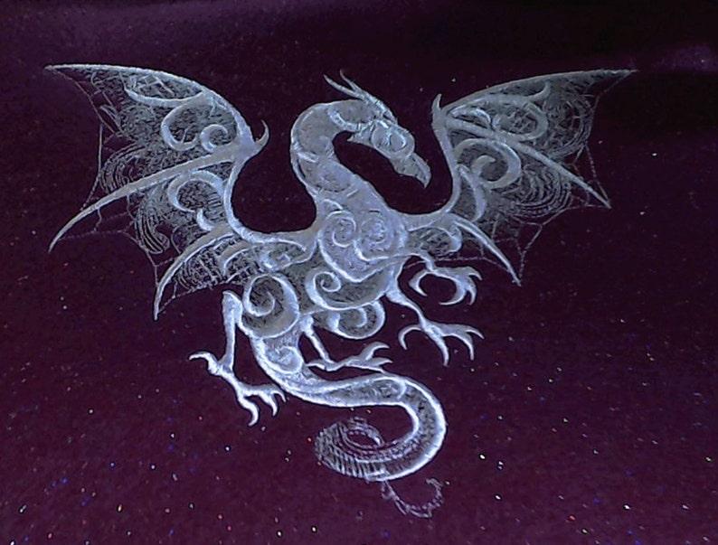 12\u2033 x 9\u2033 overall, fuchsia glitter felt, embroidered wall art 8 x 6.25\u2033 Embroidered \u201cSmoky Dragon\u201d Tapestry