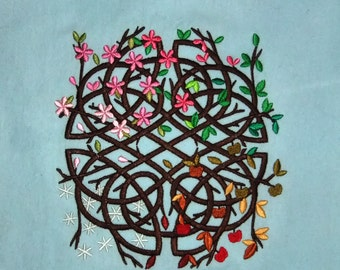 Tree of Life Focal Point Embroidered Tapestry (embroidered wall art)