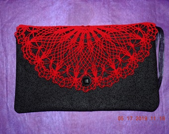 """Embroidered 6"""" x 10"""" Zippered Envelope Clutch with Freestanding Lace Flap (fully lined, lightly padded/feather quilted clutch)"""
