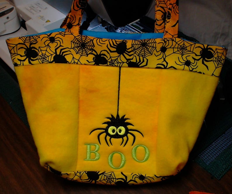 Embroidered / Lined Halloween Trick or Treat Tote Bag image 0