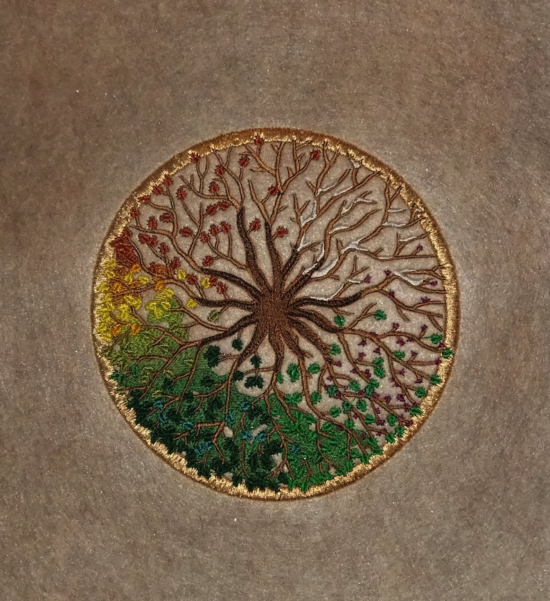 Four Seasons Tree of Life embroidered wall art image 0