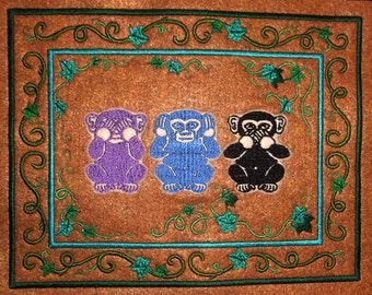 Three Wise Monkeys Tapestry (embroidered wall art)