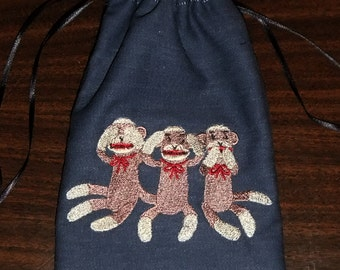 Lined Drawstring Bag with Embroidered Wise Sock Monkeys
